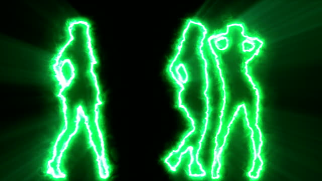 Three sexy girls dancing in green outline