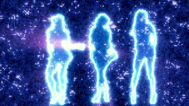 Three sexy girls dancing in silhouette on disco background blue