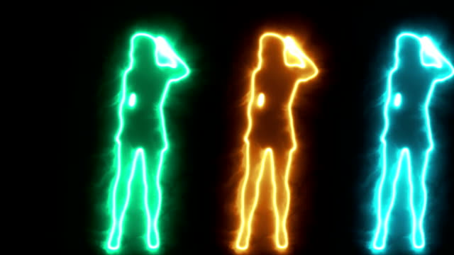 Three Shadow dancing sexy girls in glowing outline