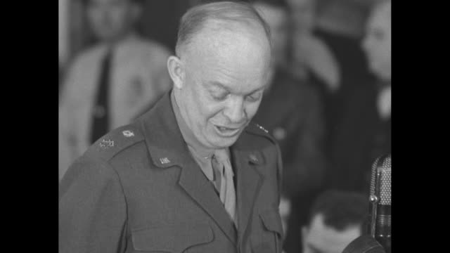 three shots of gen dwight eisenhower army chief of staff answering questions from senate military affairs committee members during his testimony at a... - testimony stock videos & royalty-free footage