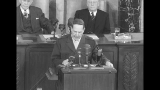 Three shots of Gen MacArthur standing at rostrum in House Chamber speaking about Communist threat in Asia with Vicepresident Alben Barkley sitting...