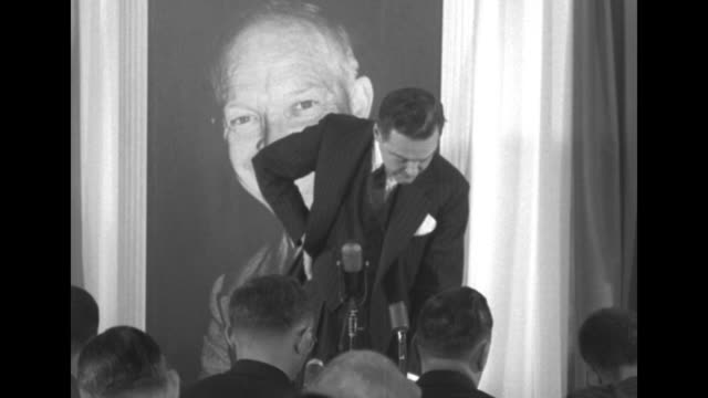 vídeos de stock, filmes e b-roll de three shots of ma sen henry cabot lodge jr answering reporters' questions as he stands in front of large picture of dwight eisenhower in eisenhower... - primary election