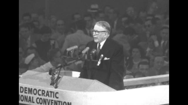 three shots of us vice president alben barkley standing at rostrum speaking as he addresses the democratic national convention at chicago's... - alben w. barkley stock videos and b-roll footage