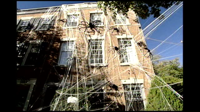 three storey house decorated with spider's web for halloween close shot of large black spiders on house decorated house with paper bat hanging from... - 階点の映像素材/bロール
