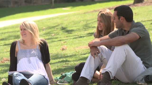 ms three students sitting on campus lawn chatting and using mobile phone, bethlehem, pennsylvania, usa - see other clips from this shoot 1503 stock videos and b-roll footage