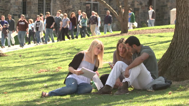 MS Three students sitting on campus lawn, other students walking on path, Bethlehem, Pennsylvania, USA