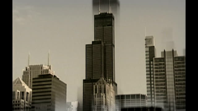 three suspects arrested in connection with terror plot at jfk airport dates unknown shots of new york skyscrapers sears tower in chicago traffic... - シアーズタワー点の映像素材/bロール