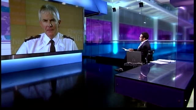 three teenagers convicted of the murder of garry newlove; t14080711 london / northwich: int chief constable peter fahy conducting 2-way interview... - krishnan guru murthy stock videos & royalty-free footage