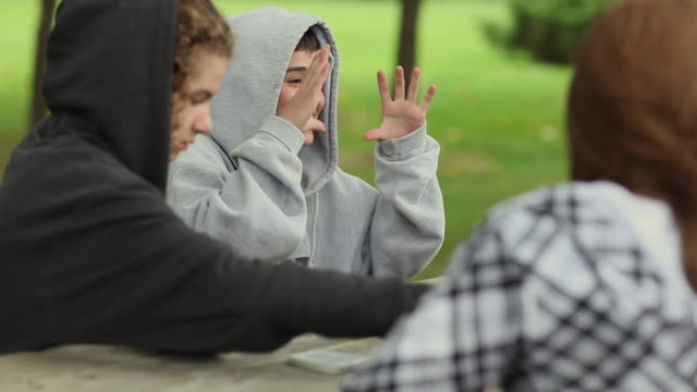 vídeos y material grabado en eventos de stock de cu selective focus three teenagers (14-15, 16-17) sitting at picnic table, playing cards and talking / cazenovia, new york, usa - 16 17 años