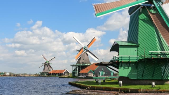drie traditionele Hollandse windmolens in de ochtend