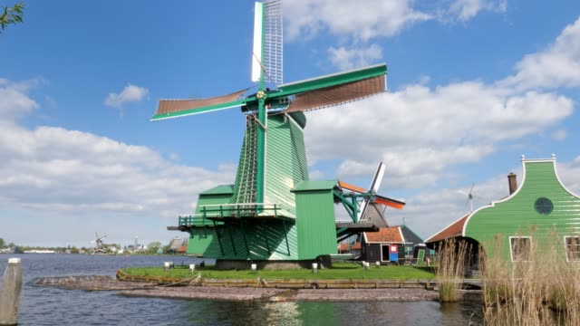 three Traditional Dutch windmills in the morning