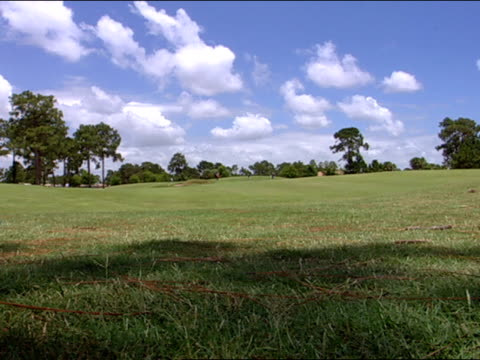 three unidentifiable players on green, two caucasian players & one african american, slow golfers walking off green. - bandierina da golf video stock e b–roll