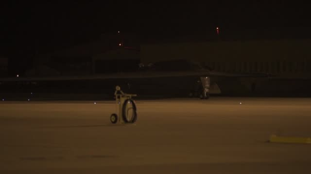 three us air force b2 spirits arrive at night at royal air force fairford england as part of bomber task force - tail stock videos & royalty-free footage