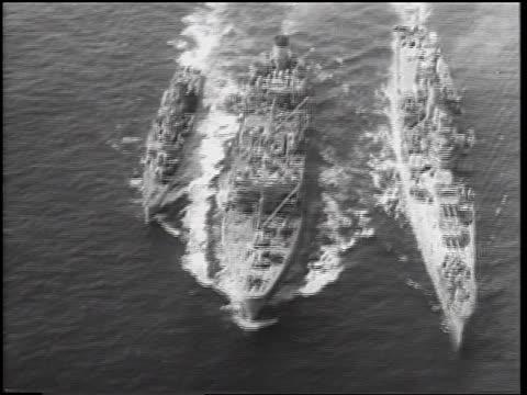 aerial three us military ships on ocean / cuban missile crisis / newsreel - cuban missile crisis stock videos & royalty-free footage