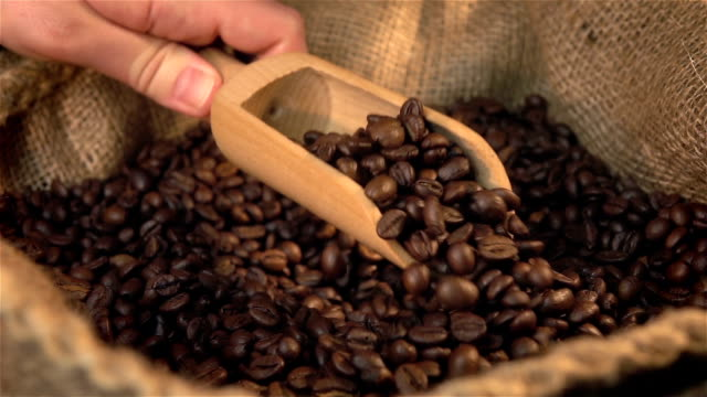 three videos of scooping coffee beans in real slow motion - sack stock videos & royalty-free footage