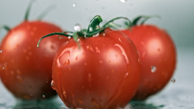 slo mo three wet tomatoes falling on a table - tre oggetti video stock e b–roll