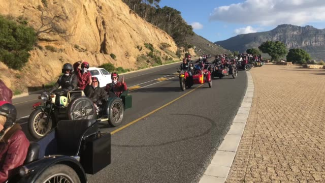 three wheel side car bike rally in cape town south africa - adventure stock videos & royalty-free footage
