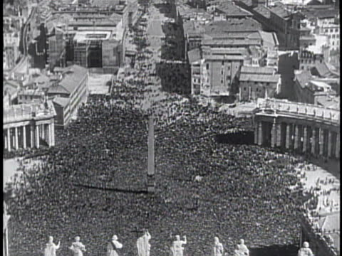 three women boy on knees in piazza san pietro xws piazza san pietro filled w/ people guards soldiers standing in piazza - catholicism stock videos and b-roll footage