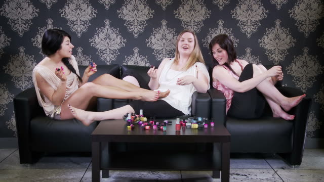 three women have a nail party - female friendship stock videos & royalty-free footage