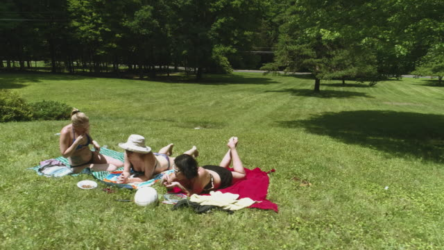 vídeos de stock e filmes b-roll de three women sunbathing on the lawn. slow panoraming around the group. - picnic