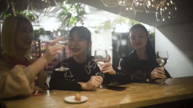 three women toast - 乾杯点の映像素材/bロール