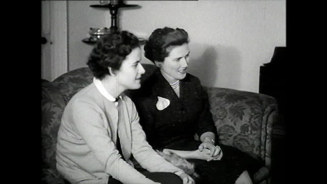 b&w three women watch the television; 1957 - watching tv stock videos & royalty-free footage