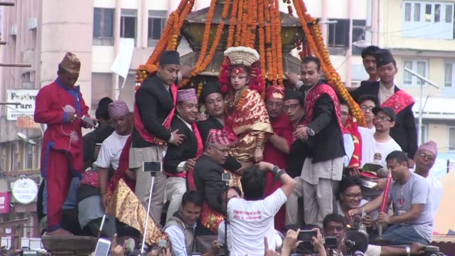 a three year old girl has been named the new kumari of nepal's capital kathmandu after her predecessor retired when she reached puberty continuing an... - goddess stock videos and b-roll footage