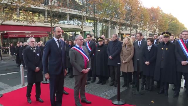 three years after the jihadist attacks of november 13 2015 french prime minister edouard philippe members of the government and elected officials pay... - prime minister video stock e b–roll