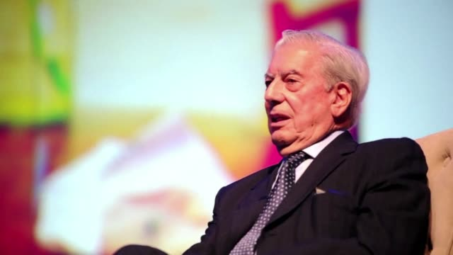 three years after winning the nobel prize for literature mario vargas llosa presents his new book the discreet hero at the congress of spanish... - nobel prize in literature stock videos and b-roll footage