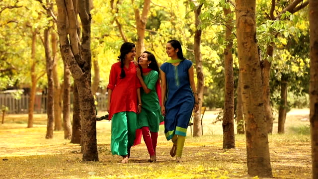 ws three young friends walking and talking while enjoying in park / delhi, india - sari stock videos and b-roll footage
