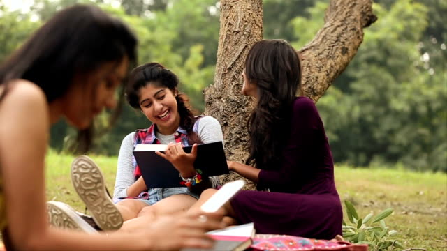 stockvideo's en b-roll-footage met three young women enjoying in the park, delhi, india - achterover leunen