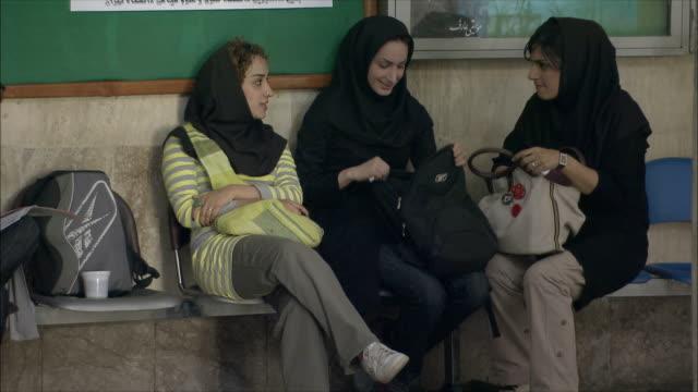 ms three young women sitting in university hall, tehran, iran - tehran stock videos & royalty-free footage