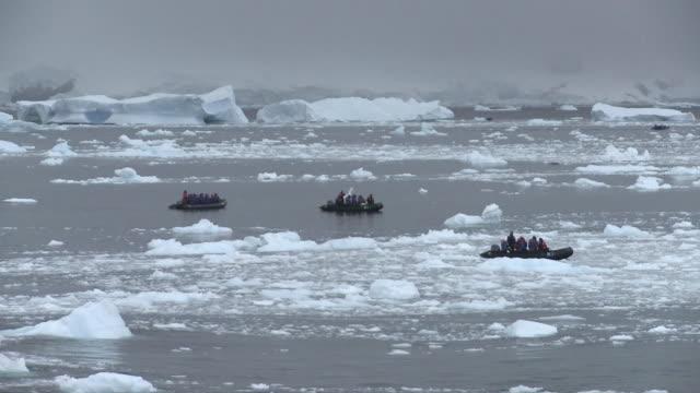 ws three zodiacs with eco-tourists floating on water covered with ice floes / neko harbor, antarctic peninsula, antarctica - ekoturism bildbanksvideor och videomaterial från bakom kulisserna