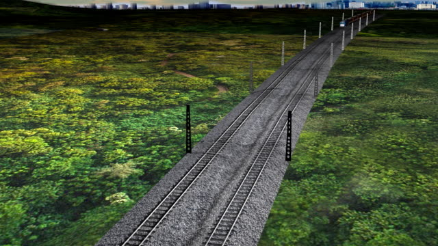 three-dimensional animation of the train passing through the hills - high speed train stock videos & royalty-free footage