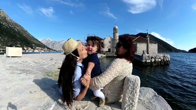 three-generation family enjoying vacation - perast stock videos and b-roll footage