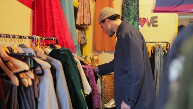 thrift store shopping - shopaholic stock videos & royalty-free footage