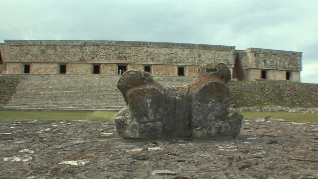 WS Throne of two-headed jaguar in front of Governor's Palace at pre-Columbian ruined city of Maya civilization / Uxmal, Yucatan, Mexico