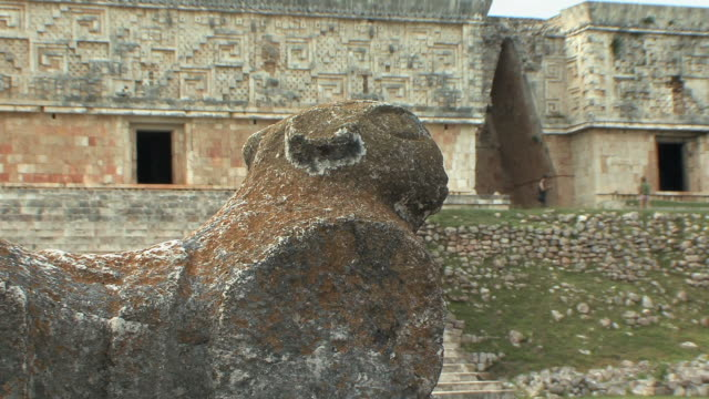 CU Throne of two-headed jaguar in front of Governor's Palace at pre-Columbian ruined city of Maya civilization / Uxmal, Yucatan, Mexico