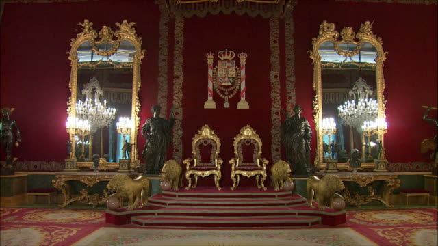 ws throne room, royal palace, madrid, spain - throne stock videos & royalty-free footage