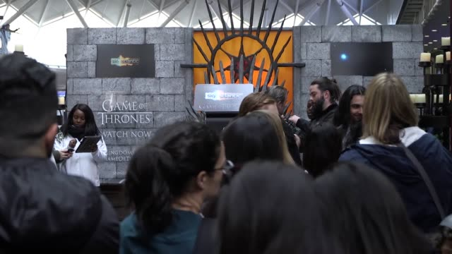 "thronecast host sue perkins visits london king's cross where the game of thrones 'iron throne' is visiting for two days on its ""7 kingdoms"" tour of... - season stock videos & royalty-free footage"