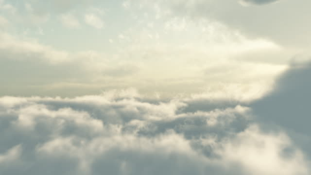 CGI POV through fluffy clouds