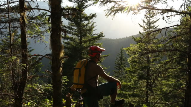 POV through forest, male mountain biker admires mountain sunrise
