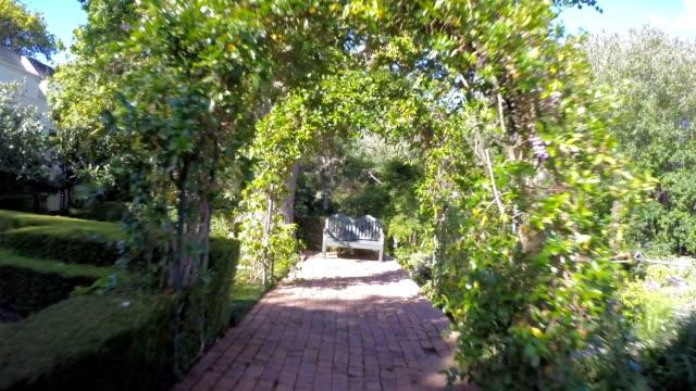 Through landscaped gardens