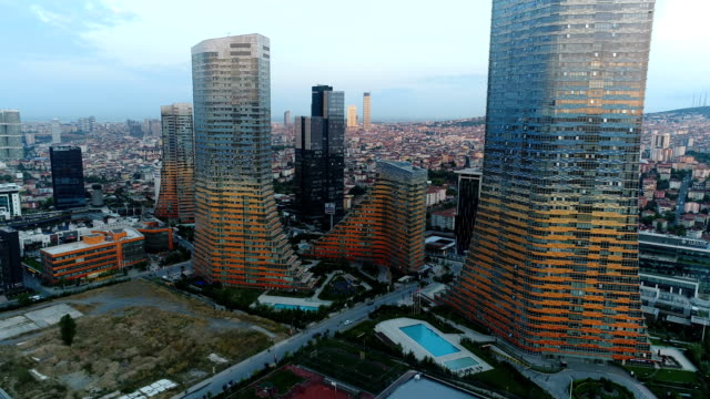 through the skycrapers at sunrise (istanbul) 4k - istanbul stock videos & royalty-free footage