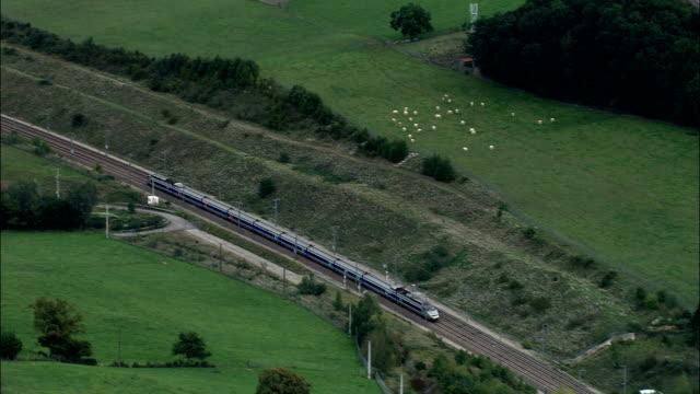 TGV through Tunnel  - Aerial View - Rhône-Alpes, Isère, Arrondissement de Vienne, France