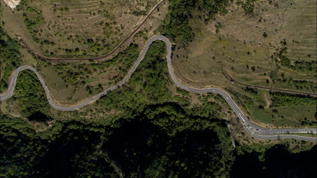 N116 through Valley  - Aerial View - Languedoc-Roussillon, Pyrénées-Orientales, Arrondissement de Prades, France