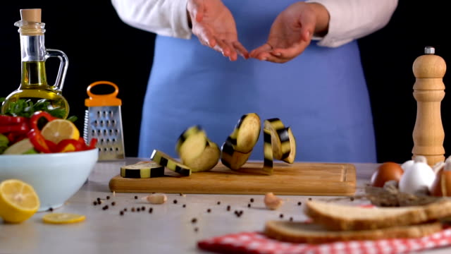 throw away eggplants on the table - chopping board stock videos & royalty-free footage