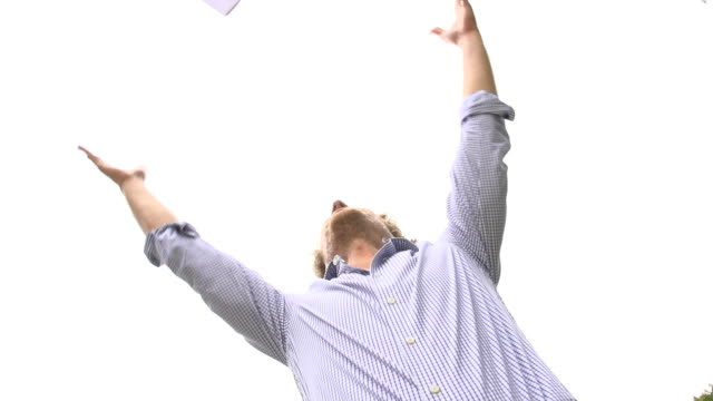 HD SUPER SLOW-MO: Throwing Papers Up In The Air