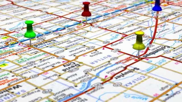 thumbtacks on road map usa - road map stock videos & royalty-free footage