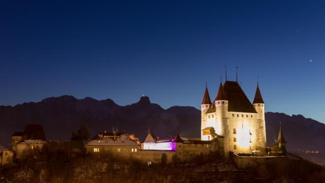 thun castle hyperlapse - castle stock videos & royalty-free footage